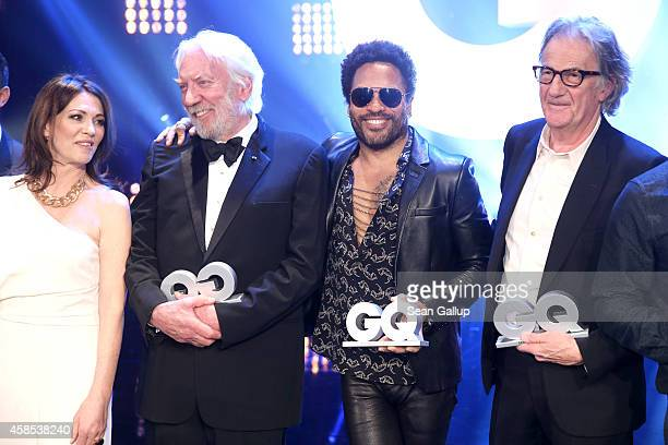 Iris Berben Donald Sutherland Lenny Kravitz and Paul Smith are seen on stage at the GQ Men Of The Year Award 2014 at Komische Oper on November 6 2014...