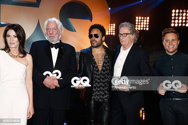 Iris Berben Donald Sutherland Lenny Kravitz Paul Smith and Olly Murs are seen on stage at the GQ Men Of The Year Award 2014 at Komische Oper on...
