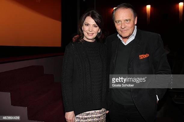 Iris Berben Gero von Boehm attend the premiere of the film 'Der Clan Die Geschichte der Familie Wagner' at Gloria Palast on January 15 2014 in Munich...