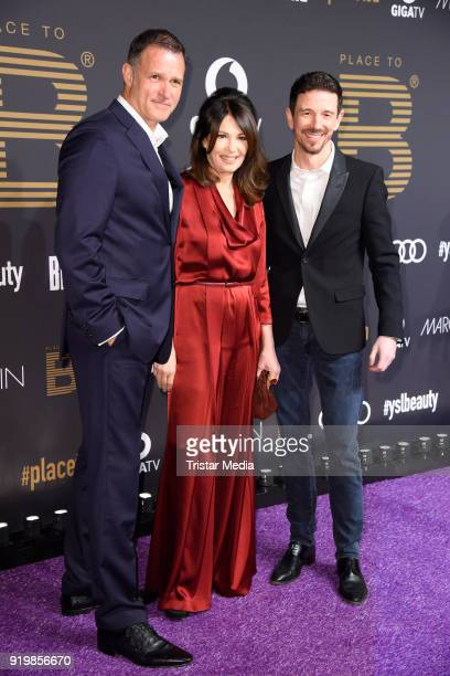 Iris Berben, her boyfriend Heiko Kiesow and her son Oliver Berben attend the PLACE TO B Party on February 17, 2018 in Berlin, Germany.