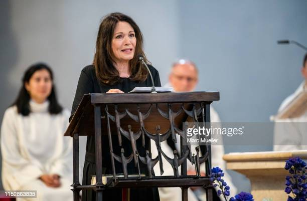 Iris Berben is seen during the funeral service for German actress Hannelore Elsner on May 31 2019 in Munich Germany The actress died at age 76 after...