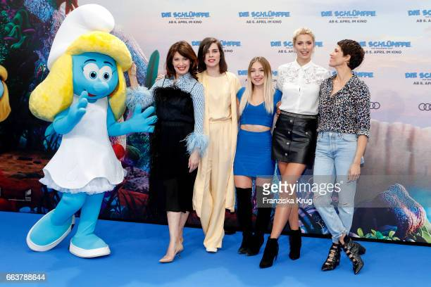 Iris Berben, Nora Tschirner, Bianca Heinicke, Lena Gercke and Jasmin Gerat attend 'Die Schluempfe - Das verlorene Dorf' Berlin Premiere at Sony...