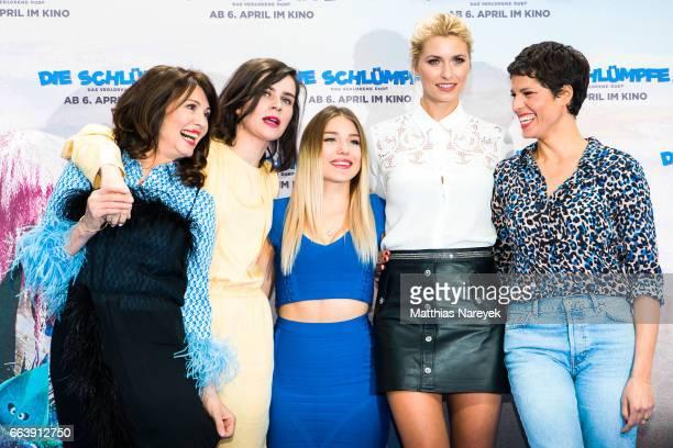 Iris Berben Nora Tschirner Bianca Heinicke Lena Gercke and Jasmin Gerat attend the 'Die Schluempfe Das verlorene Dorf' Berlin Premiereat Sony Centre...