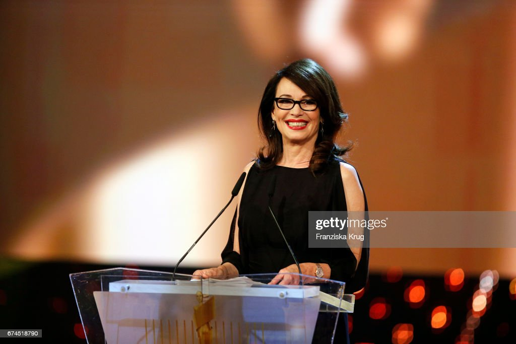 Iris Berben, President of the Deutsche Filmakademie making her opening speech at the Lola - German Film Award show at Messe Berlin on April 28, 2017 in Berlin, Germany.
