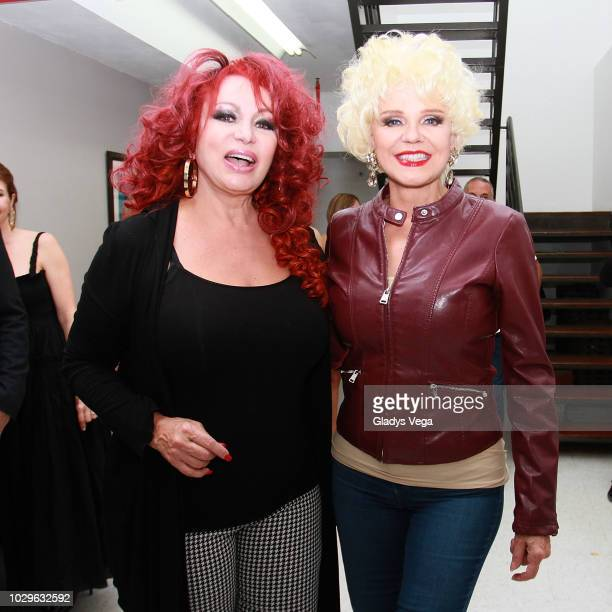 Iris Chacon and Charytin pose for media on backstage of the play 'Enchismas' at Centro de Bellas Artes de Caguas on September 8, 2018 in Caguas,...