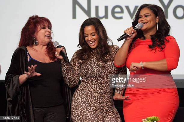 Iris Chacon, Dascha Polanco and Christina Mendez attend the 5th Annual Festival People en Espanol at The Jacob K. Javits Convention Center on October...