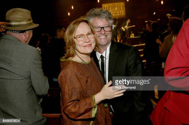 Iris DeMent and Americana Music Association Executive Director Jed Hilly backstage at the 2017 Americana Music Association Honors Awards on September...