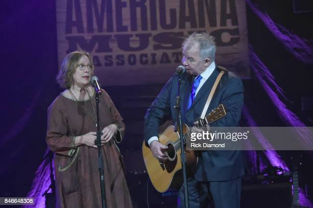 Iris DeMent and John Prine perform onstage during the 2017 Americana Music Association Honors Awards on September 13 2017 in Nashville Tennessee