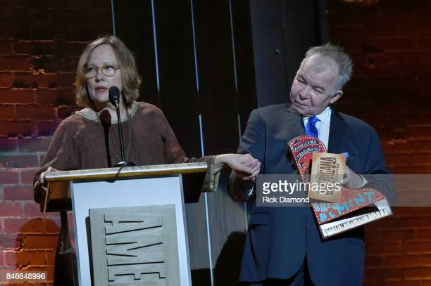 Iris DeMent and John Prine speak onstage during the 2017 Americana Music Association Honors Awards on September 13 2017 in Nashville Tennessee
