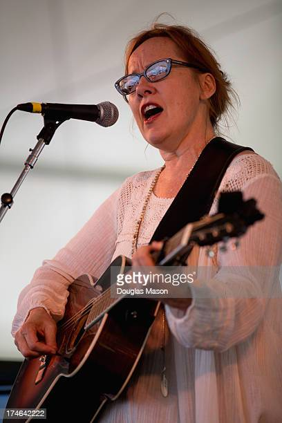 Iris DeMent performs during the 2013 Newport Folk Festival at Fort Adams State Park on July 27 2013 in Newport Rhode Island