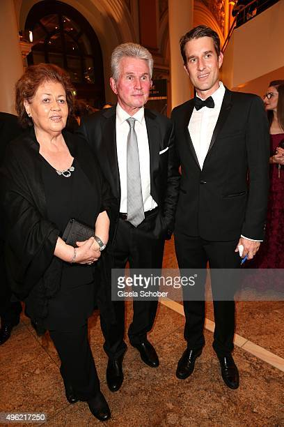 Iris Heynckes and Jupp Heynckes, Oliver Fritz, editor of Bunte during the German Sports Media Ball at Alte Oper on November 7, 2015 in Frankfurt am...