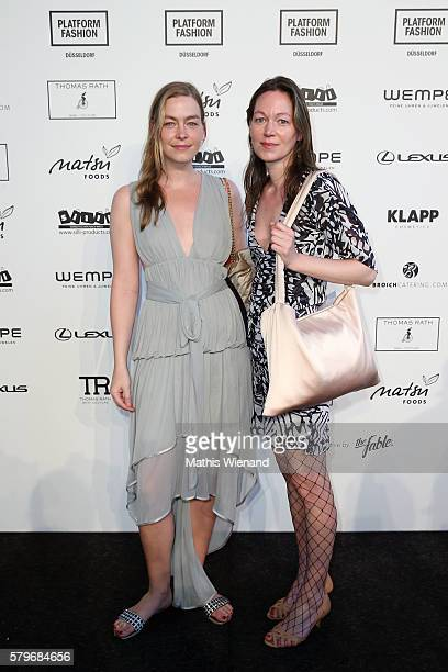 Iris Kuechler and Simone Kuechler attend the Thomas Rath show during Platform Fashion July 2016 at Areal Boehler on July 24 2016 in Duesseldorf...
