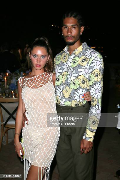 Iris Law and Jyrrel Roberts attend a dinner at the LuisaViaRoma Window To a Fashion Future World book presentation at i Giardini di Augusto on August...