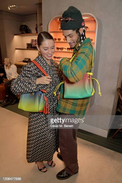 Iris Law and Jyrrel Roberts attend the launch event of Mulberry's 'Iris for Iris' capsule collection designed by Iris Law, on March 10, 2020 in...