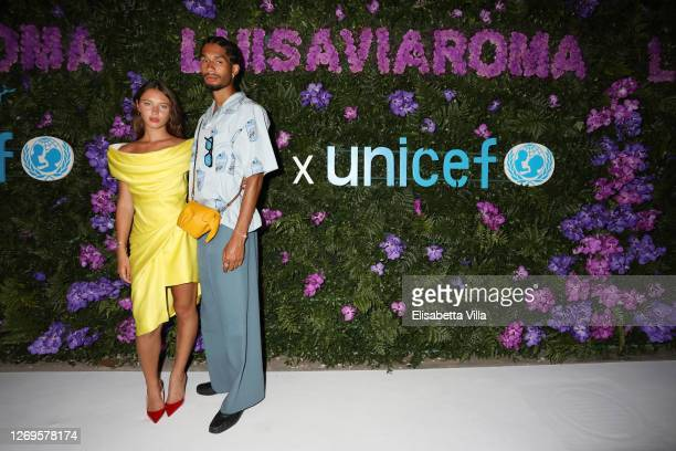Iris Law and Jyrrel Roberts attend the photocall at the LuisaViaRoma for Unicef event at La Certosa di San Giacomo on August 29, 2020 in Capri, Italy.