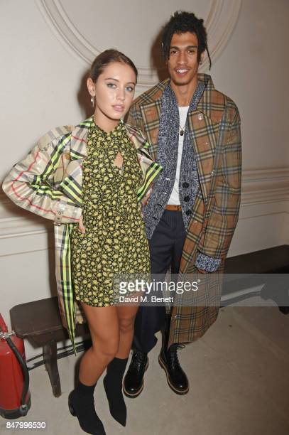 Iris Law and Kelvin Bueno wearing Burberry at the Burberry September 2017 at London Fashion Week at The Old Sessions House on September 16 2017 in...