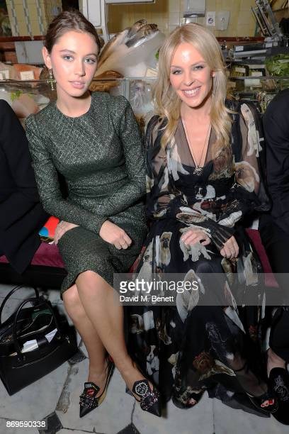 Iris Law and Kylie Minogue attend the Dolce Gabbana Italian Christmas at Harrods on November 2 2017 in London England