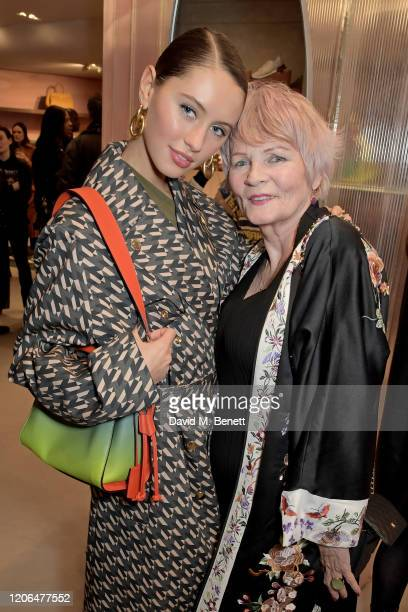 Iris Law and Mary Davidson attend the launch event of Mulberry's 'Iris for Iris' capsule collection designed by Iris Law, on March 10, 2020 in...