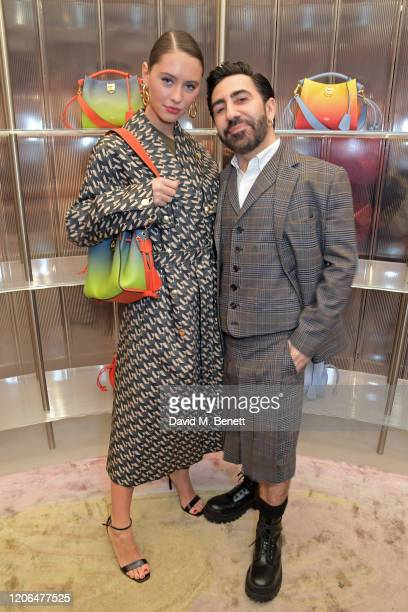 Iris Law and Mulberry Creative Director Johnny Coca attend the launch event of Mulberry's 'Iris for Iris' capsule collection designed by Iris Law, on...