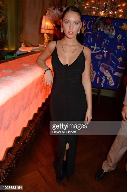 Iris Law attends the Annabel's Art Auction fundraiser in aid of Teenage Cancer Trust & Teen Cancer America at Annabel's on November 7, 2018 in...