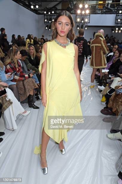 Iris Law attends the JW Anderson show during London Fashion Week February 2020 at Yeomanry House on February 17, 2020 in London, England.