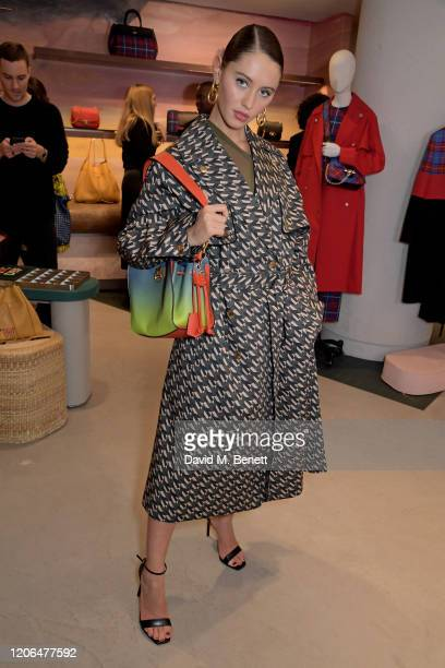 Iris Law attends the launch event of Mulberry's 'Iris for Iris' capsule collection designed by Iris Law, on March 10, 2020 in London, England.