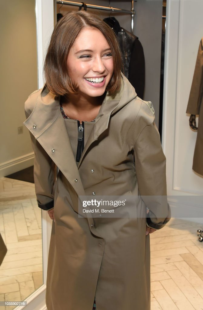 Iris Law attends the launch of the Nick Knight x Alyx Mackintosh limited edition coat during London Fashion Week September 2018 at the Mackintosh boutique on September 14, 2018 in London, England.