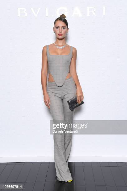 Iris Law is seen at the Bulgari Milan SS 2021 Event on September 25, 2020 in Milan, Italy.