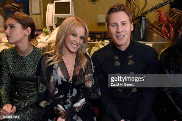 Iris Law Kylie Minogue and Guest attend the Dolce Gabbana Italian Christmas at Harrods on November 2 2017 in London England