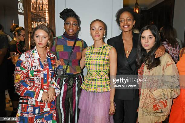 Iris Law, Lil Simz, Adwoa Aboah, Kesewa Aboah and Chloe Caillet attend the Burberry x Adwoa cocktail party at Thomas's on June 8, 2018 in London,...