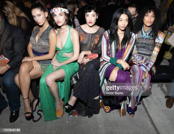 Iris Law, Rainey Qualley, Mia Moretti and guests attend the Missoni fashion show on February 22, 2020 in Milan, Italy.