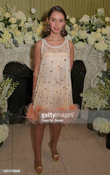 Iris Law wearing Tiffany & Co. Attends the British Vogue and Tiffany & Co. Celebrate Fashion and Film Party at Annabel's on February 10, 2019 in...
