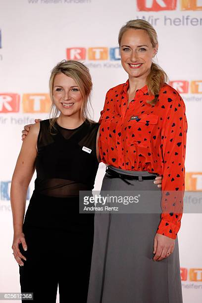 Iris Mareike Steen and Eva Mona Rodekirchen are seen in the studio of the RTL Telethon TV show on November 24 2016 in Cologne Germany The telethon is...