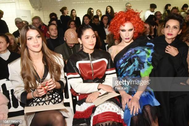 Iris Mittenaere Araya Hargate Miss Fame and Farida Khelfa attend the JeanPaul Gaultier Haute Couture Spring Summer 2019 show as part of Paris Fashion...