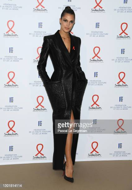 Iris Mittenaere attends Sidaction Gala Dinner 2020 At Pavillon Cambon on January 23, 2020 in Paris, France.