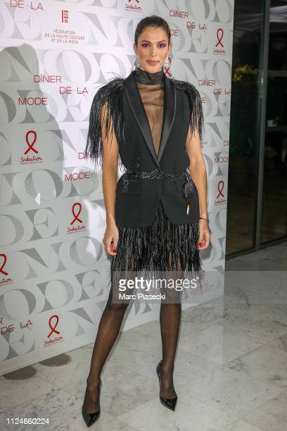 """Iris Mittenaere attends the 17th """"Diner De La Mode"""" as part of Paris Fashion Week on January 24, 2019 in Paris, France."""
