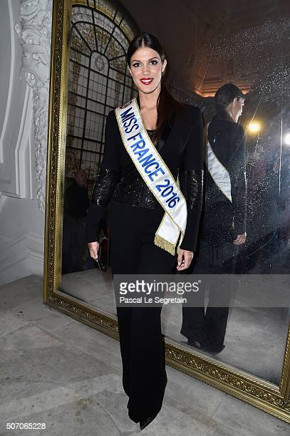 Iris Mittenaere attends the Jean Paul Gaultier Spring Summer 2016 show as part of Paris Fashion Week on January 27 2016 in Paris France
