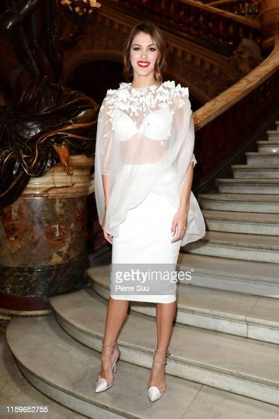 Iris Mittenaere attends the Stephane Rolland Haute Couture Fall/Winter 2019 2020 show as part of Paris Fashion Week on July 02, 2019 in Paris, France.