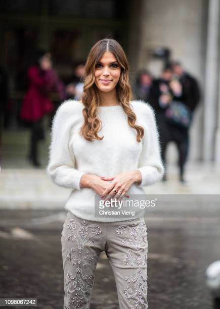 Iris Mittenaere is seen outside Stephane Rolland during Haute Couture Spring Summer 2019 Day Two on January 22 2019 in Paris France