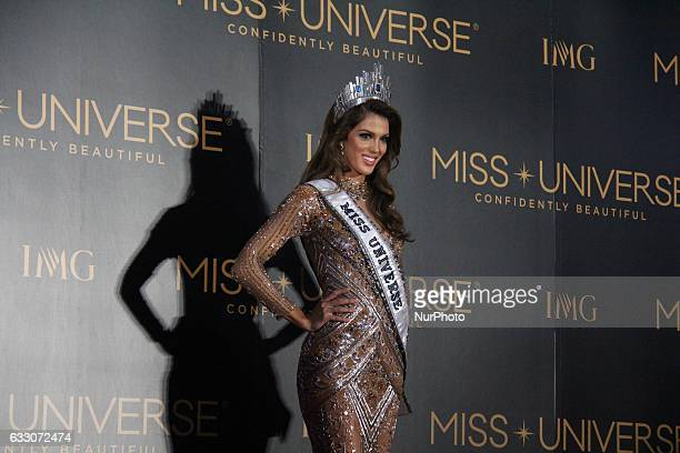 Iris Mittenaere of France poses for photographers during a press conference held after the 65th Miss Universe coronation night in Pasay City south of...