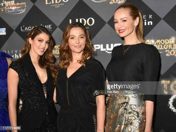 Iris Mittenaere Sandrine Quetier and Adriana Karembeu attend the Top Model Belgium 2019 Ceremony at Le Lido on February 03 2019 in Paris France