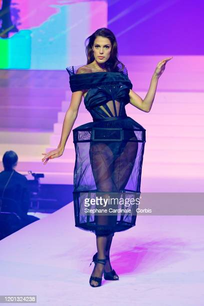 Iris Mittenaere walks the runway during the Jean-Paul Gaultier Haute Couture Spring/Summer 2020 show as part of Paris Fashion Week at Theatre Du...