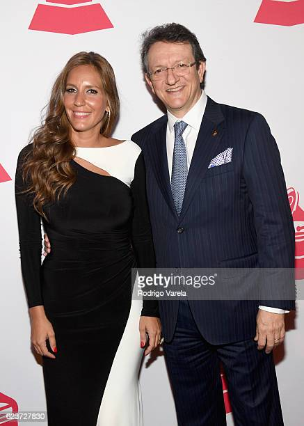 Iris Oliveros and President of the Latin Recording Academy Gabriel Abaroa attend the 2016 Latin Recording Academy Special Awards during the 17th...