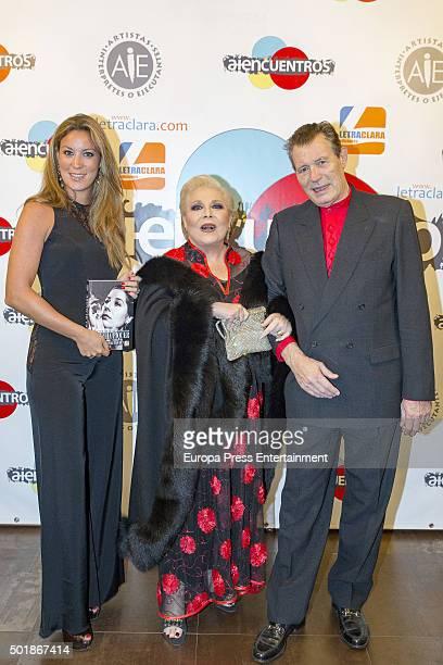 Iris Oliveros, Concha Marquez Piquer and Ramiro Oliveros attend 'Asi era mi madre' book presentation on December 17, 2015 in Madrid, Spain.