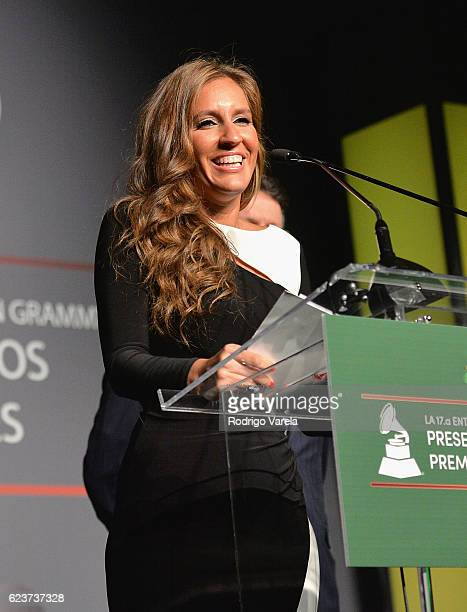 Iris Oliveros speaks onstage during the 2016 Latin Recording Academy Special Awards during the 17th annual Latin Grammy Awards on November 16 2016 in...
