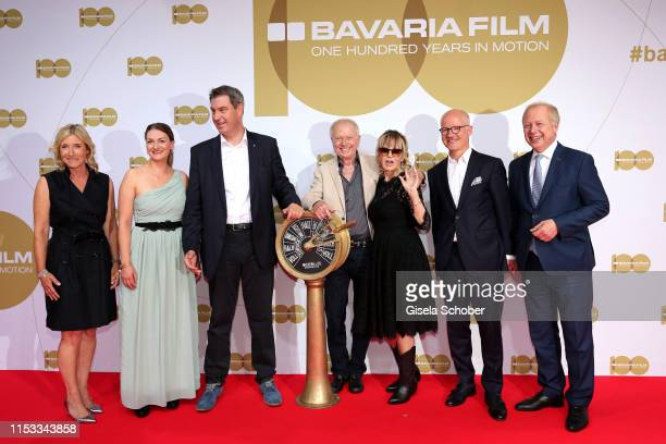 Iris Ostermaier CFO Bavaria Film Judith Gerlach Minister for Digital Bavarian Prime Minister Markus Soeder Wolfgang Petersen and his wife Maria...