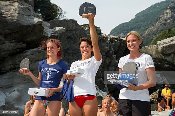 Iris Schmidbauer of Germany Anna Bader of Germany and Julia Wenskus of Germany on the podium after winning the Cliff Diving European Championship on...