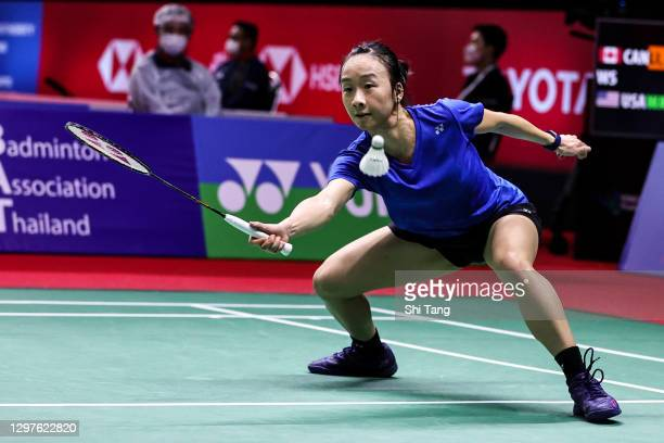 Iris Wang of the United States competes in the Women's Singles second round match against Michelle Li of Canada on day three of the Toyota Thailand...