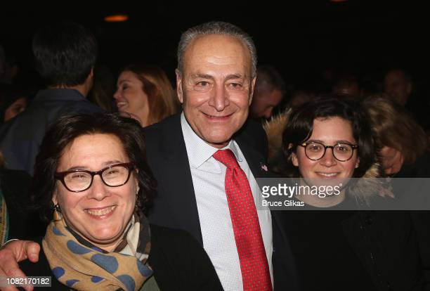 Iris Weinshall Chuck Schumer and Alison Emma Schumer pose at the 5th Anniversary Celebration party for BeautifulThe Carole King Musical on Broadway...