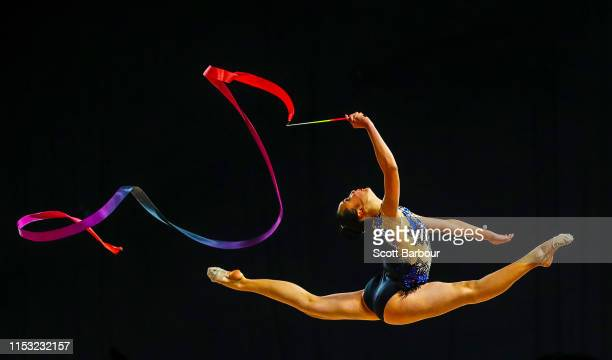 Iris Xin En Hoo of Malaysia competes with the ribbon during the 2019 Australian Gymnastics Championships at Melbourne Arena on June 02, 2019 in...